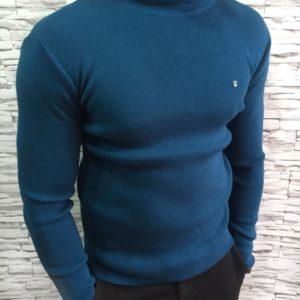 Купить мужской синий гольф из хлопка турецкий дешево