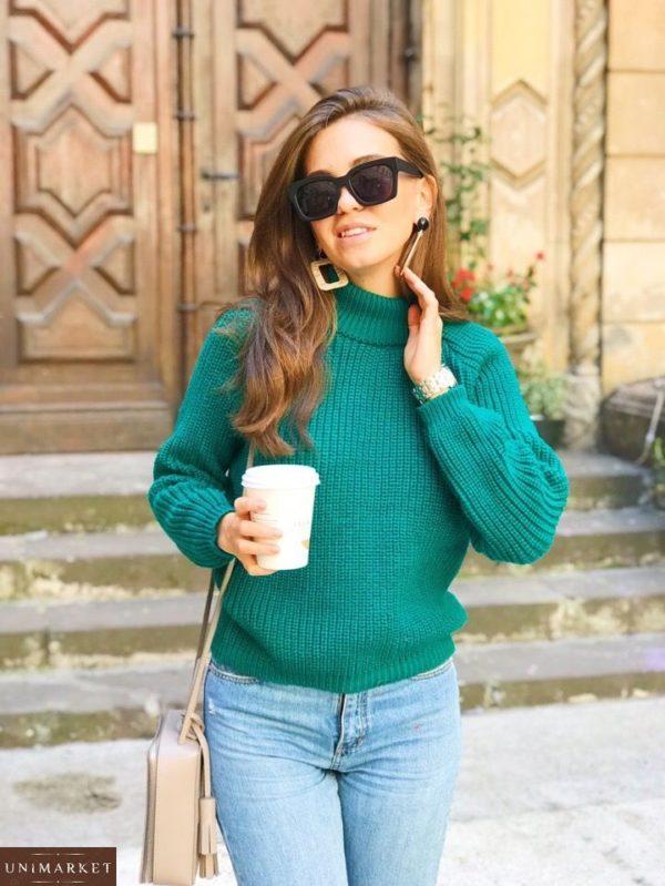 зелёный женский гольф свитер под горло итальянская пряжа по низкой цене