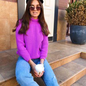 Заказать фиолетовый шерстяной гольф свитер для женщин