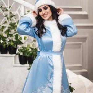 Купить костюм снегурочки женский на новый год голубого цвета дешево в интернете