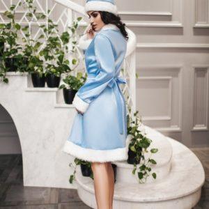 Заказать новогодний женский костюм снегурки голубого цвета недорого и со скидкой