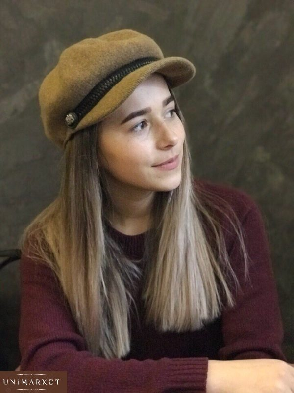 заказать бежевую шерстяную зимнюю кепку для женщин дешево