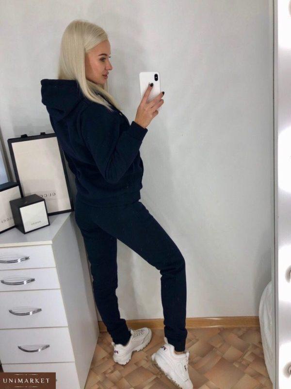 Заказать женский темно синий прогулочный спортивный костюм турецкая трехнить оптом