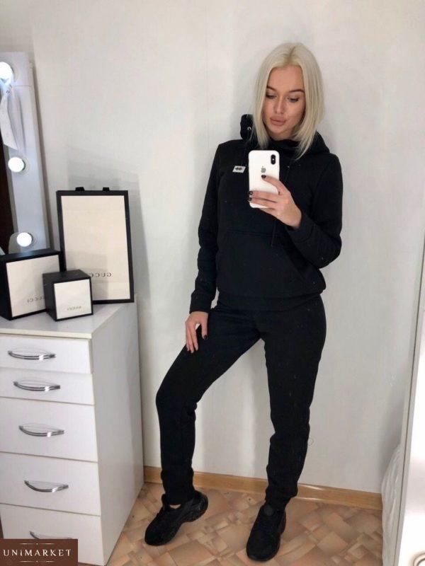 Заказать женский черный прогулочный спортивный костюм с капюшоном