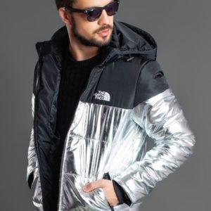 Заказать Куртку больших размеров зимнюю The North Face черный silver для мужчин в интернете