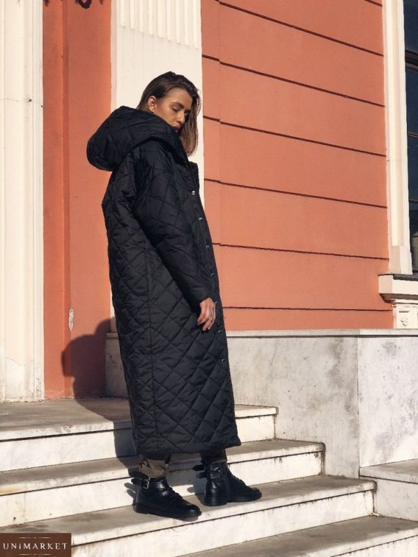 Черное женское зимнее стеганое пальто цена в Одессе