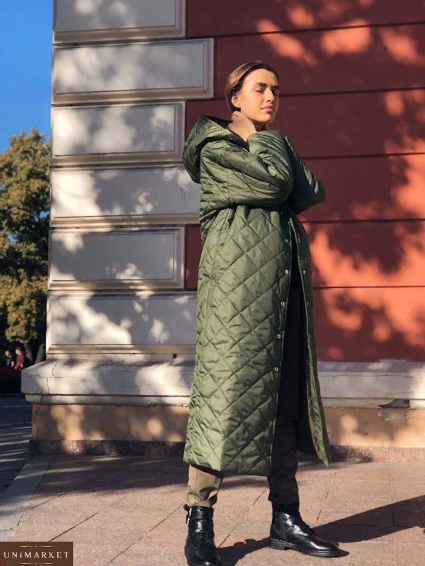 Купить темно зеленое стеганое пальто женское теплое оптом
