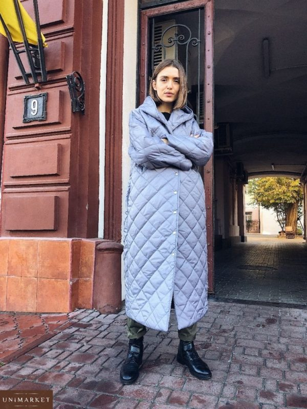 заказать голубое пальто стеганое по низкой цене на зиму для женщин