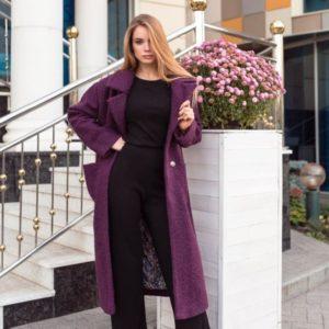 Заказать бордовое зимнее женское пальто теплое из букле дешево
