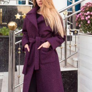 купить Зимнее очень теплое пальто из букле для женщин бордового цвета