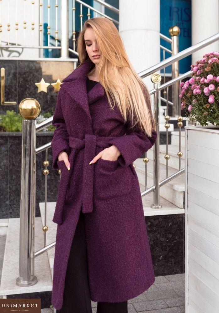 96f290153b8 купить Зимнее очень теплое пальто из букле для женщин бордового цвета