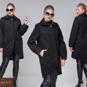 купить женское кашемировое пальто больших размеров черное оптом