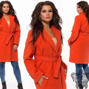 Заказать женское терракотовое Пальто больших размеров с турецкого кашемира дешево