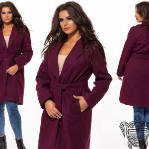 купить марсала Пальто больших размеров женское турецкий кашемир оптом