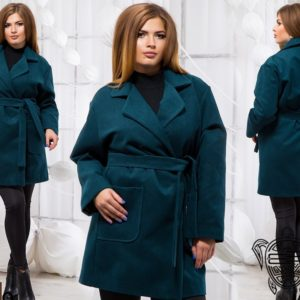 купить женское Кашемировое пальто больших размеров темно зеленого цвета