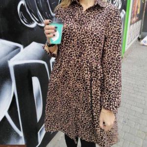 Заказать женское замшевое платье леопардового цвета дешево