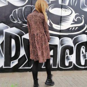 Купить женское леопардовое платье из замша оптом