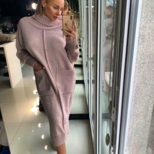 Заказать теплое вязаное длинное женское платье из шерсти и хлопка на зиму в интернете