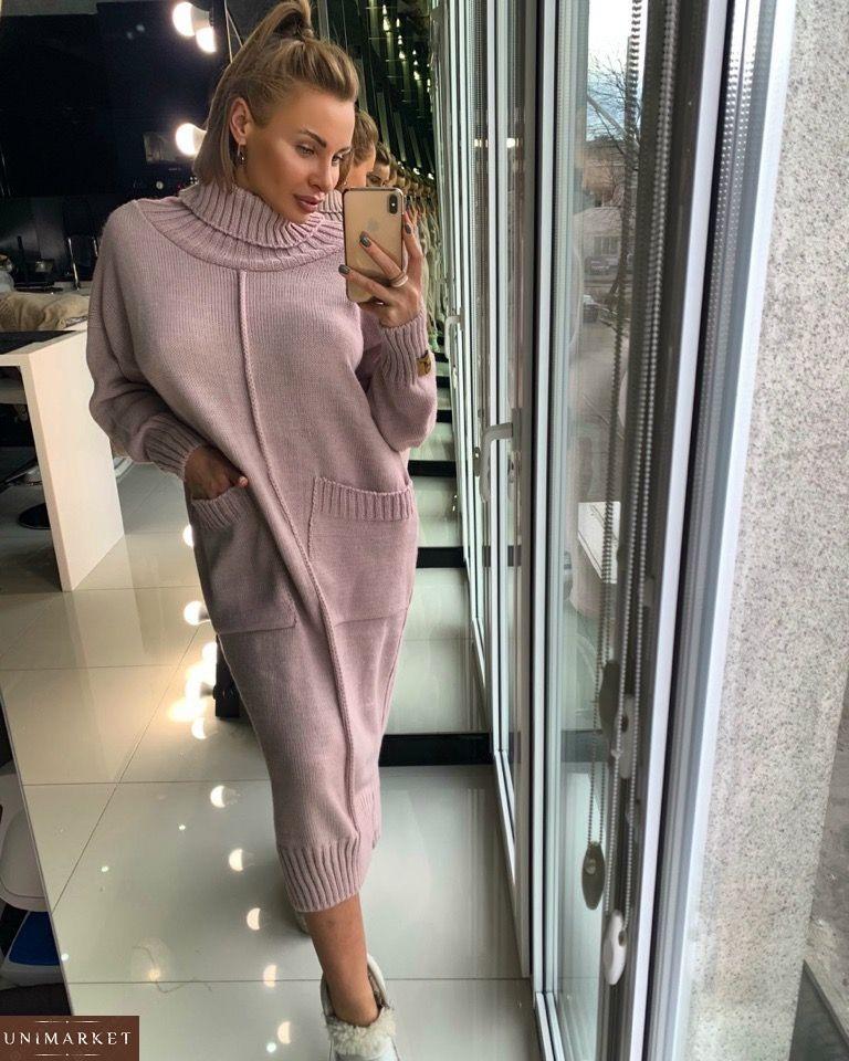 060064d083d Заказать теплое вязаное длинное женское платье из шерсти и хлопка на зиму в  интернете. купить Теплое зимнее ...