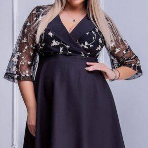 заказать черное платье для полных женщин с вышевкой оптом