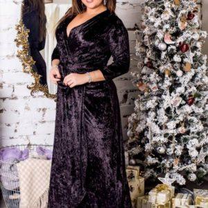 купить черное Бархатное платье для полных женщин оптом
