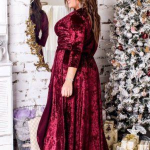 заказать бархатное платье цвета марсала большого размера для полных женщин