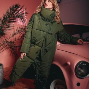Жіноче Зелене тепле пальто-пуховик з плащової тканини в інтернеті