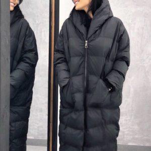 Заказать черный Пуховик-пальто больших размеров оптом в интернете