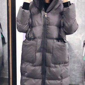 Купить серый женский Пуховик-пальто больших размеров дешево