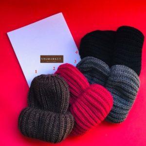 заказать женскую черную вязаную шапка с двойным отворотом оптом