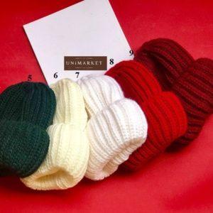 Купить женскую вязаную шапка с двойным отворотом оптом
