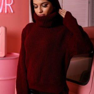 заказать бордовый Зимний свитер oversize для женщин недорого