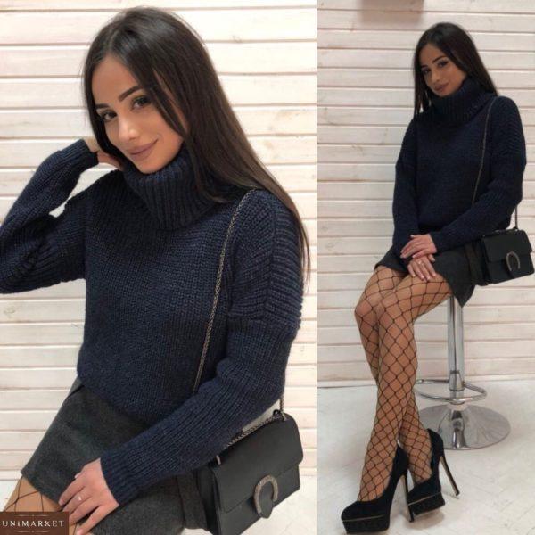 Купить женский теплый Зимний свитер oversize из шерсти