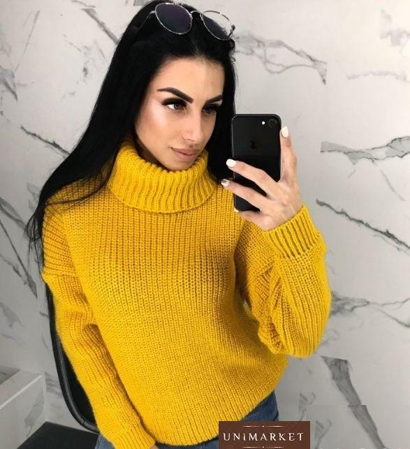 Шерстяной горчичный Зимний женский свитер оверсайз оптом