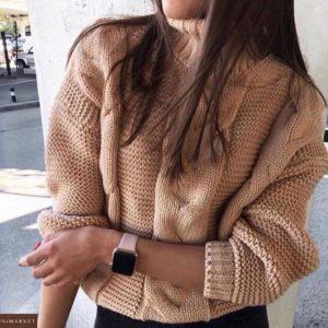Купить женский свитер двойной вязки горчичного цвета дешево