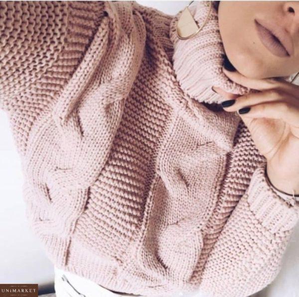 Теплый пудровый свитер под горло для женщин оптом
