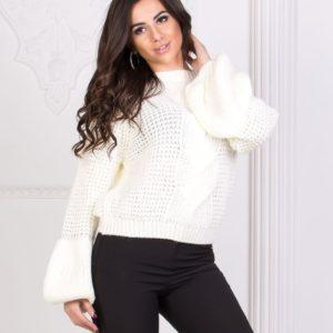 Купить женский белый Турецкий вязаный свитер из марса дешево