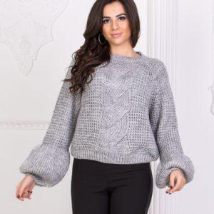 Заказать серый Турецкий вязаный свитер женский оптом в интернете