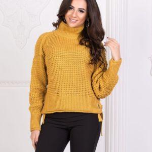 Купить женский горчичный Турецкий вязаный свитер с горлом дешево