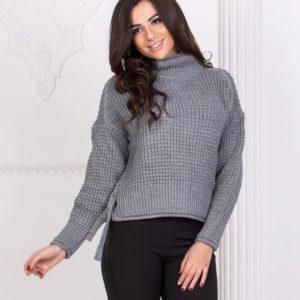 Заказать серый Вязаный свитер турецкий с горлом оптом в интернете