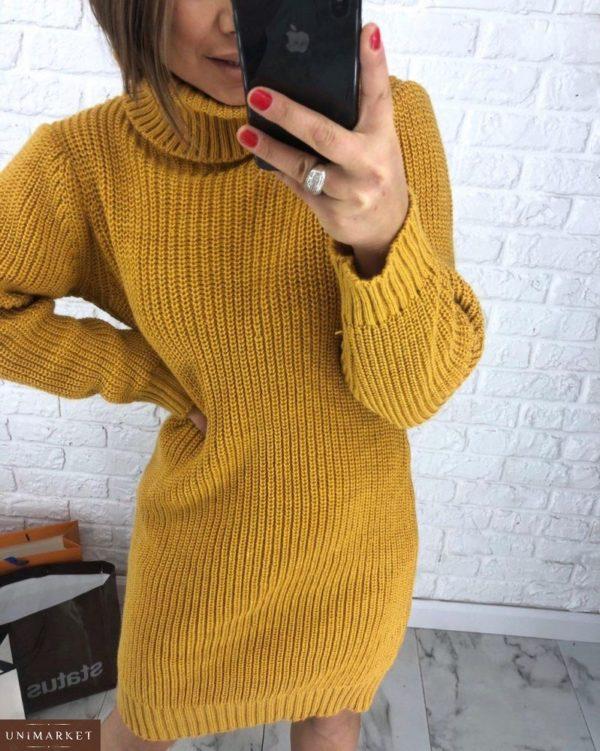 Заказать горчичную женскую шерстяную платье-тунику оверсайз вязанную