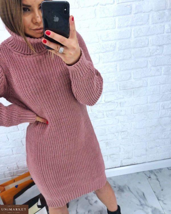 Купить женскую розовую платье-тунику из шерсти вязанную