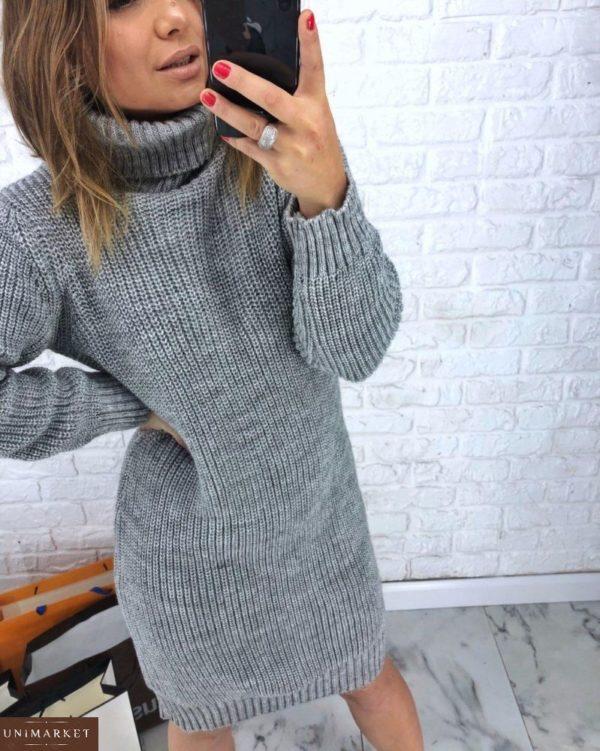 серая шерстяная oversize платье-туника женская вязанная недорого