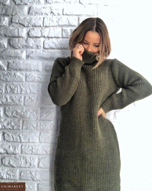 оливковая женская шерстяная платье-тунику оверсайз вязанная цена в интернете