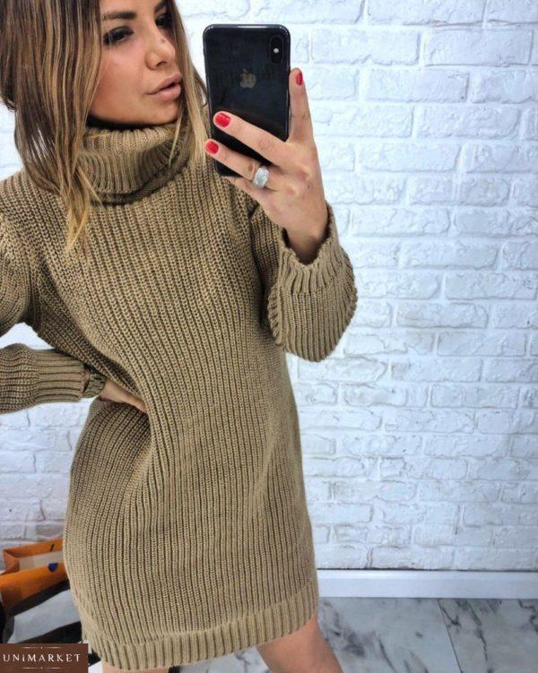 заказать бежевую женскую платье-тунику оверсайз вязанную из шерсти