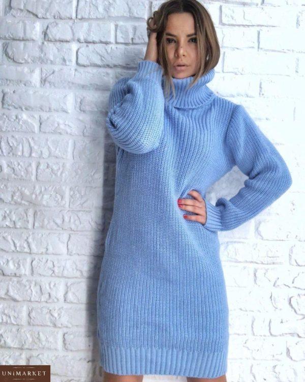 Купить голубую шерстяную женскую платье-тунику вязанную oversize