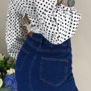заказать женскую джинсовую синюю юбку из стрейч-коттон в интернете