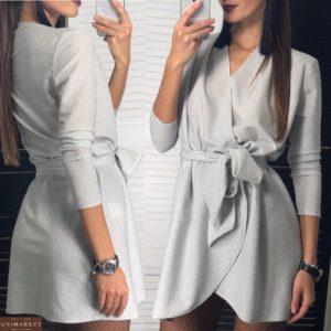 Заказать женское люрексовое платье с поясом в серебряном цвете