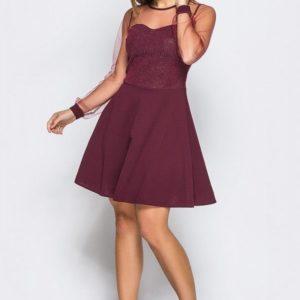 Заказать женское платье из креп-дайвинга цвета бордо