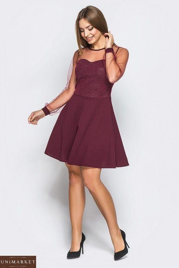 05703ca0d00 Заказать женское платье из креп-дайвинга цвета бордо. Купить черное ...